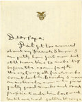 """Autographs:Military Figures, General George S. Patton Autograph Letter Signed: """"George"""", three pages, 5.5"""" x 6.75"""", West Point, November 4, 1906. An ..."""