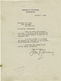 "Autographs:Military Figures, General John J. Pershing Typed Letter Signed. One page, 7"" x 9.25""on his official letterhead as General of the Armies, Wash...(Total: 2 )"
