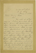 "Autographs:Military Figures, Major Marcus Reno Autograph Letter Signed, ""M.A. Reno"", 2 pages, 4.5"" x 7"", New York City, January 3, 1886, to ""Editor..."