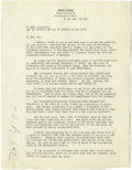 """Autographs:Artists, Diego Rivera Typed Letter Signed. Two pages, 8.5"""" x 11"""", Mexico,June 25, 1957. Considered by many to be Mexico's greatest a..."""