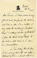 "Autographs:Military Figures, Daniel Sickles Autograph Letter Signed, ""D Sickles"", threepages, 4.5"" x 6.75"", New York, October 16, 1902 to General Ki..."