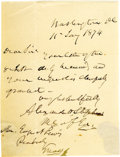 "Autographs:Statesmen, Confederate Vice President Alexander Stephens Autograph LetterSigned. One page, 4"" x 5"", Washington, January 11, 1874. In p..."