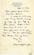 """Autographs:Military Figures, Confederate Brigadier General Marcus J. Wright Autograph Letter Signed. One page, 5"""" x 8"""", War Department War Records Office..."""