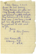 "Autographs:Non-American, David Ben-Gurion Autograph Letter Signed ""D. Ben-Gurion"".One page, 4.5"" x 7"", March 11, 1963, Sdeh Boker, Israel to Sol..."