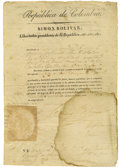 "Autographs:Non-American, Simon Bolivar Document Signed. two pages, 8.25"" x 12"", Bogotá,Columbia, 1829. The document written in Spanish reads: ""Simon..."