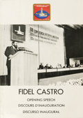 Autographs:Non-American, Fidel Castro Signed Printed Speech. Signed as: Fidel Castro,on page one of the Spanish section of the booklet (white pa...