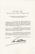 Autographs:Non-American, Cuban Archive Ranging From 1956 to 2002. Ranging from a 1956Batista signed document to a 2002 Castro signed letter of State...(Total: 13 pieces)