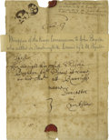"Autographs:Non-American, King Charles I Commission Wrapper Signed ""Cha:R"". One page,5"" x 7.5"" on paper with 3/4 of the original wax seal of the..."