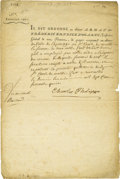 "Autographs:Non-American, Charles X Letter Signed. ""Charles Philippe"" one page, Jan 1,1775 to the Finance Minister regarding funds to be paid. Ch..."