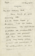 """Autographs:Non-American, Winston Churchill Autograph Letter Signed. Signed: Winston S. Churchill, four pages, 5"""" x 8"""", London, March 15, 1905. Wr..."""