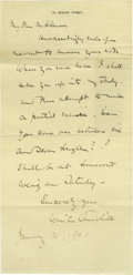 "Autographs:Non-American, Beautiful Winston Churchill Autograph Letter Signed. One page, 5.5""x 11"", 181 Beacon Street letterhead, England, January 1..."
