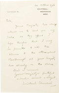 """Autographs:Statesmen, Winston Churchill Writes to King Edward VIII, Autograph Letter Signed Winston S. Churchill, one page, 5"""" x 8"""", England, ..."""