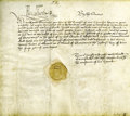 "Autographs:Non-American, Elizabeth I, Queen of England, Document Signed. ""ElizabethR"". One page, 10"" x 9"", Greenwich England, June 27, 1559.Wri..."