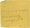 "Autographs:Non-American, Mohandas Gandhi Signature ""M K Gandhi"", 3.25"" x 3"", np, nd.Better known worldwide as Mahatma Gandhi, he was a spiri..."