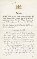 "Autographs:Non-American, King George V of England Document Signed: ""George RI"". Twopages, 8"" x 13"", Dublin Castle, July 10, 1911. An excellent a..."