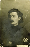 "Autographs:Non-American, Maxim Gorky Photograph Signed ""Maxim"" (in Cyrillic), blackand white photograph, 3.5"" x 5.5"", np, nd. Gorky was born Ale..."