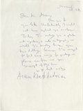"""Autographs:Celebrities, Aram Khatchaturian Autograph Letter Signed """"AramKhatchaturian"""". One page, 8.5"""" x 11"""", Moscow, February 11,1976. This l..."""