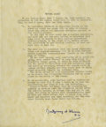 """Autographs:Military Figures, Montgomery of Alamein Typed Document Signed """"Montgomery of Alamein F.M."""". Two pages, np, nd. This typed document recalls..."""