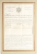 "Autographs:Non-American, Napoleon Bonaparte Naval Document Signed ""Nap"". A partlyprinted document signed on back, one page, 13"" x 19"", Sept 23. ..."