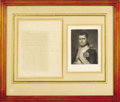 "Autographs:Non-American, Napoleon Bonaparte Autograph Letter. One page, 6.25"" x 8"", undated,to unknown recipient. Six lines of text in Napoleon's ha..."