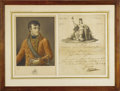 "Autographs:Non-American, Napoleon Bonaparte Document Signed ""Bonaparte"". One page,partially printed, 8.5"" x 11"", ca. 1800. A large engraving of ..."