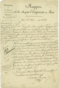 "Autographs:Non-American, Napoleon Bonaparte Partly-Printed Document Signed ""NP"" as Emperor of France. Bonaparte (1769-1821), also known as the ""L..."