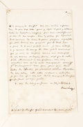 Autographs:Non-American, Marie Louise, Empress Consort of Napoleon, Claims Her Rights Important Autograph Letter Signed, as Empress, in French, one f...