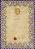 "Autographs:Non-American, Pope Pius IX Document Signed, Pius PP IX, one page, 10.5"" x15"". A lace border has been applied to this French language ..."