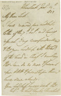 "Autographs:Non-American, Duke of Wellington Autograph Letter Signed ""Wellington"".Three pages, 4.5"" x 7"", Wherstead, January 14, 1823. Wellington..."
