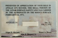 "Apollo 14 Mission Used Safety Line. 1"" x .25"" and 3.75"" x 2.5"" mounted. A piece of safety line used..."