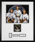 "Autographs:Celebrities, Apollo 11 Astronauts Framed Signature Display. Signatures of""Neil Armstrong"" (1.25"" x 2.25"" slip of paper), ""Michael..."