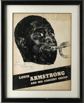 "Autographs:Celebrities, Louis Armstrong Signed Concert Advertisement ""LouisArmstrong"". Signed in blue ink, this black and white concertadverti..."