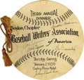 Autographs:Celebrities, 1939 Baseball Writers Dinner Menu Signed by Mickey Cochrane, JoeCronin, Leo Durocher (all HOFers), Bob Quinn, and Johnny Va...