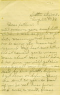 """Autographs:Celebrities, 1933 Blanche Barrow Writes Her Father, Autograph Letter Signed """"Mrs. Blanche Barrow. Six pages, 5"""" x 8"""", lined paper, Pl..."""