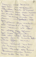 "Autographs:Celebrities, Handwritten Biography of Bonnie Parker by Her Sister Billy JeanParker. Fourteen pages, 5"" x 8"", plain paper, np, nd. Billy ..."