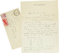 Autographs:Celebrities, Lionel Barrymore Letter Archive. Substantial correspondenceconsisting of 16 letters written between September 25, 1941 and ...(Total: 24 )