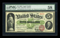 Large Size:Legal Tender Notes, Fr. 62 $5 1862 Legal Tender PMG Choice About Unc 58....