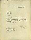 "Autographs:Celebrities, Five Excellent Content R.E. Byrd Letters to Thomas B. Mulroy. FiveTyped Letters Signed, each one page, 8.5"" x 11"", Boston. ...(Total: 5 )"