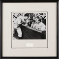 Autographs:Celebrities, Chicago Crime Figure Al Capone Signature Matted with Photograph ofCapone at Comiskey. Al Capone, black and white photog...