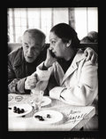 "Autographs:Artists, Marc Chagall Signed Photograph ""Marc Chagall"". Large blackand white image, 8.5"" x 11.5"", showing the elderly Chagall in..."