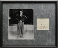 """Autographs:Celebrities, Charlie Chaplin Signed Sketch """"Sincerely Charlie Chaplin"""".On a 3.5"""" x 3.25"""" portion of a lined index card, Chaplin has ..."""