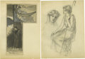 Autographs:Artists, Frederick Church: Four Original Drawings. A fine grouping: drawings1 and 2 show men working with elephants; the third is a ... (Total:4 )