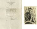 Autographs:Celebrities, Bette Davis and William Holden Autograph Lot. A wonderful pair ofitems signed by two of Hollywood's Golden Age greats. The ...