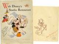 "Autographs:Artists, Walt Disney Studio Menu Picturing Mickey Mouse Signed ""To Pat with Best Wishes Walt Disney"", 9"" x 12"", Walt Disney's Stu..."