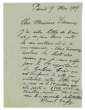 "Autographs:Artists, Raoul Dufy Autograph Letter Signed: Raoul Dufy, one page,5.25"" x 7.25"", Paris, May 9, 1919 (written in French). French ..."