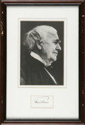 """Autographs:Inventors, Thomas Edison Signed Card """"Thos A Edison"""". One page, 2.5"""" x1.5"""" n.p., n.d. Signed in pencil on card stock and framed wi..."""