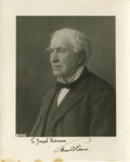 "Autographs:Inventors, Thomas Edison Inscribed Signed Photograph, ""To Joseph RobinsonThos A Edison"", 8"" x 10"". This photographic print reprodu..."