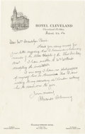 "Autographs:Statesmen, Alexander Fleming Autograph Letter Signed ""AlexanderFleming"". One page, 6"" x 9.5"", Cleveland, March 24, 1954 toMrs. Fr..."