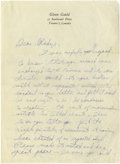 "Autographs:Celebrities, Glenn Gould Autograph Letter Signed ""Glenn"". 4 pages, with 2 pages ( 7.25"" x 10"") on pianist Gould's personal letterhead..."