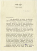 """Autographs:Celebrities, Glenn Gould Typed Letter Signed """"Glenn"""". Two pages, 7.25"""" x 10"""", personal letterhead, June 30, 1959, to Gladys Shenner. ..."""